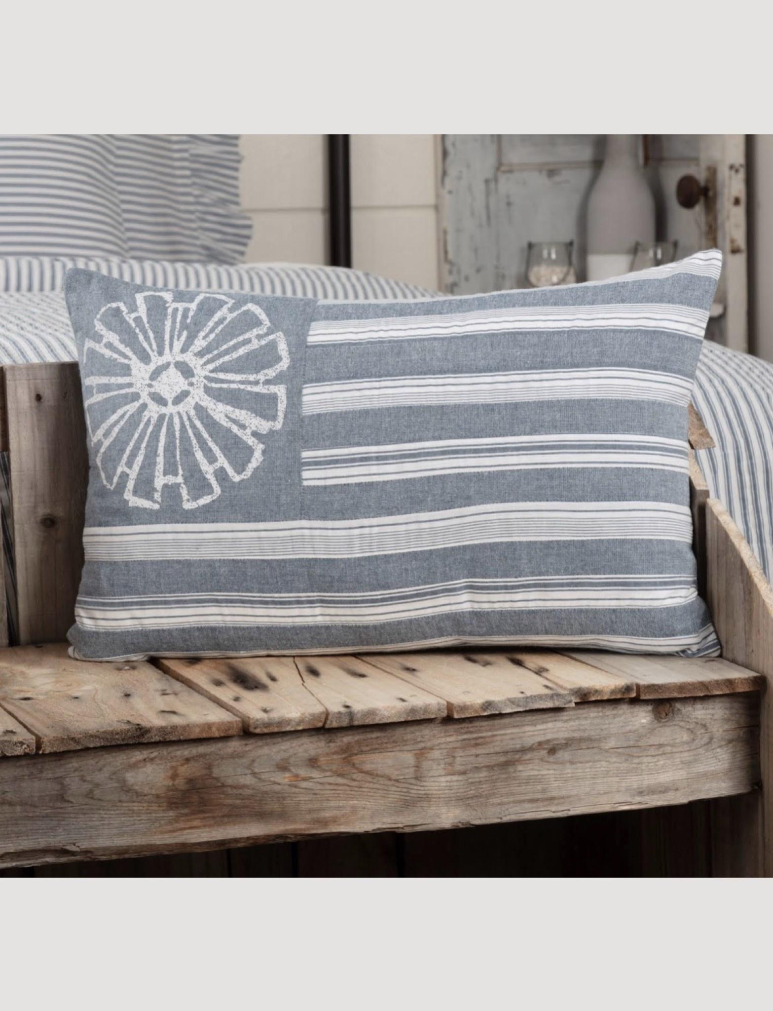 """VHC Brands Sawyer Mill Blue Flag Pillow 14 x 22"""""""