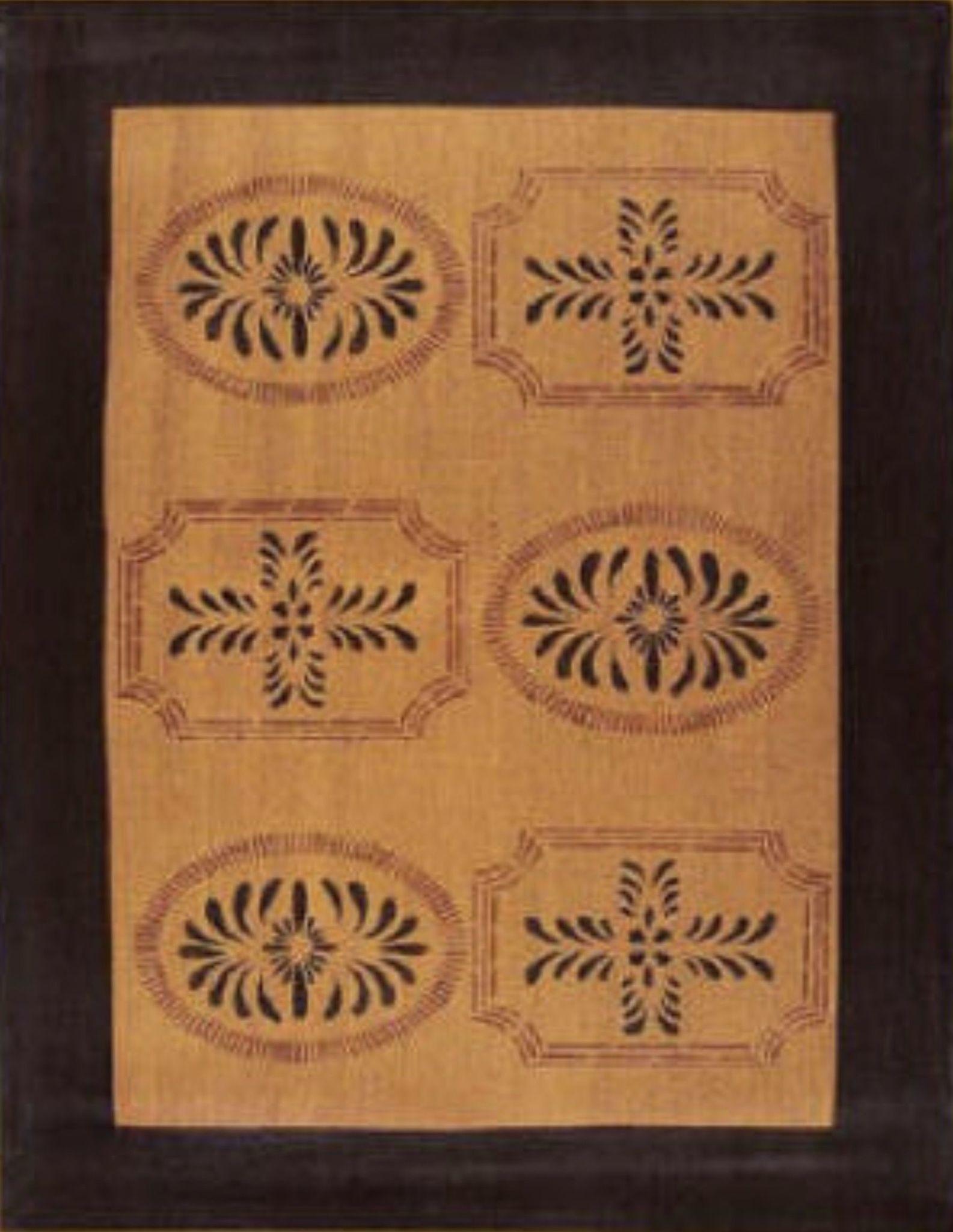 """Nana's Farmhouse Bump Tavern Black & Brown/Red Floor Cloth 24"""" x 36"""""""