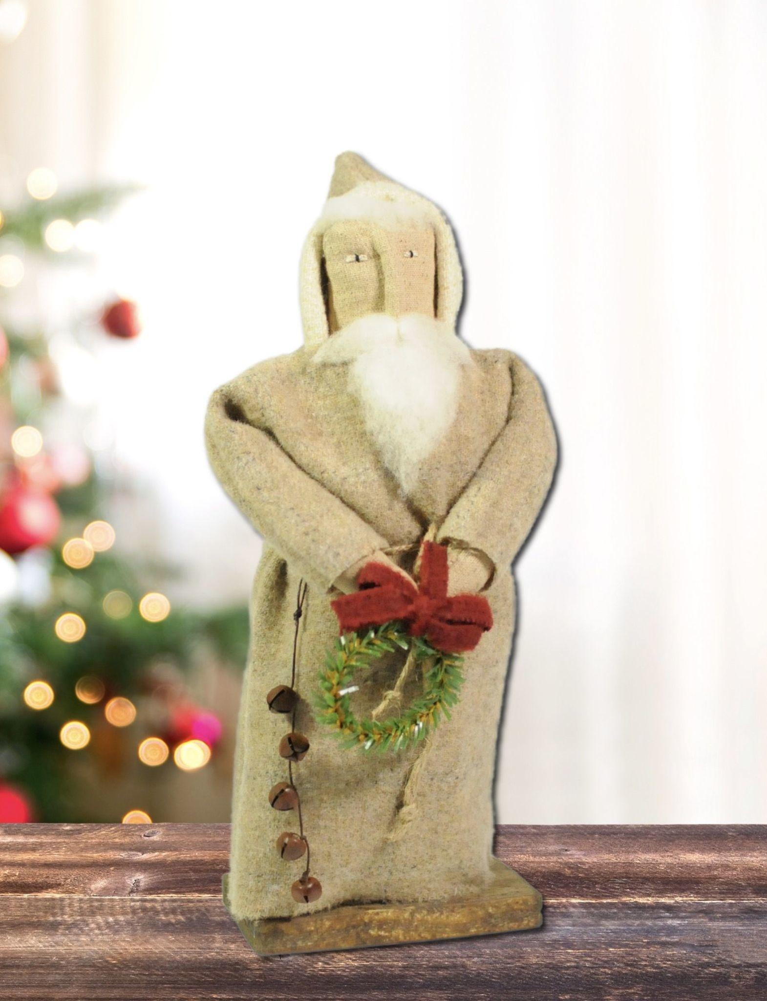Nana's Farmhouse White Wool Santa Holding Wreath