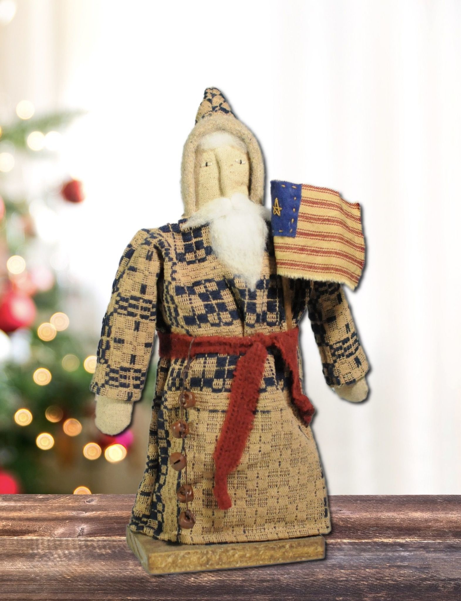 Nana's Farmhouse Santa W/Flag & Red Belt