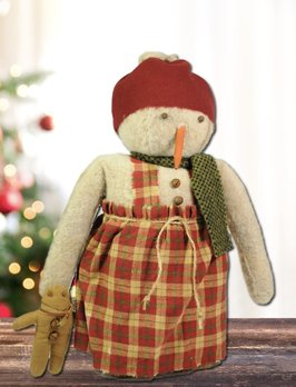 Nana's Farmhouse Vanessa The Snow Girl Red Plaid Dress Holding Gingerbread