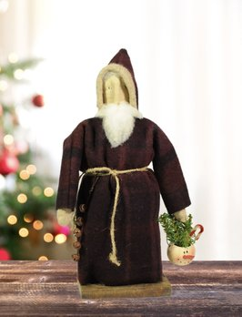 Nana's Farmhouse Eggplant Wool Santa Holding Snowman Bucket