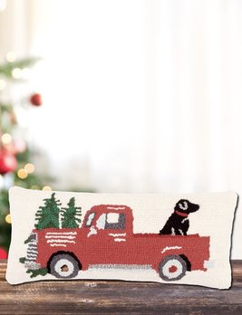 Mud Pie Red Truck & Dog Hooked Pillow
