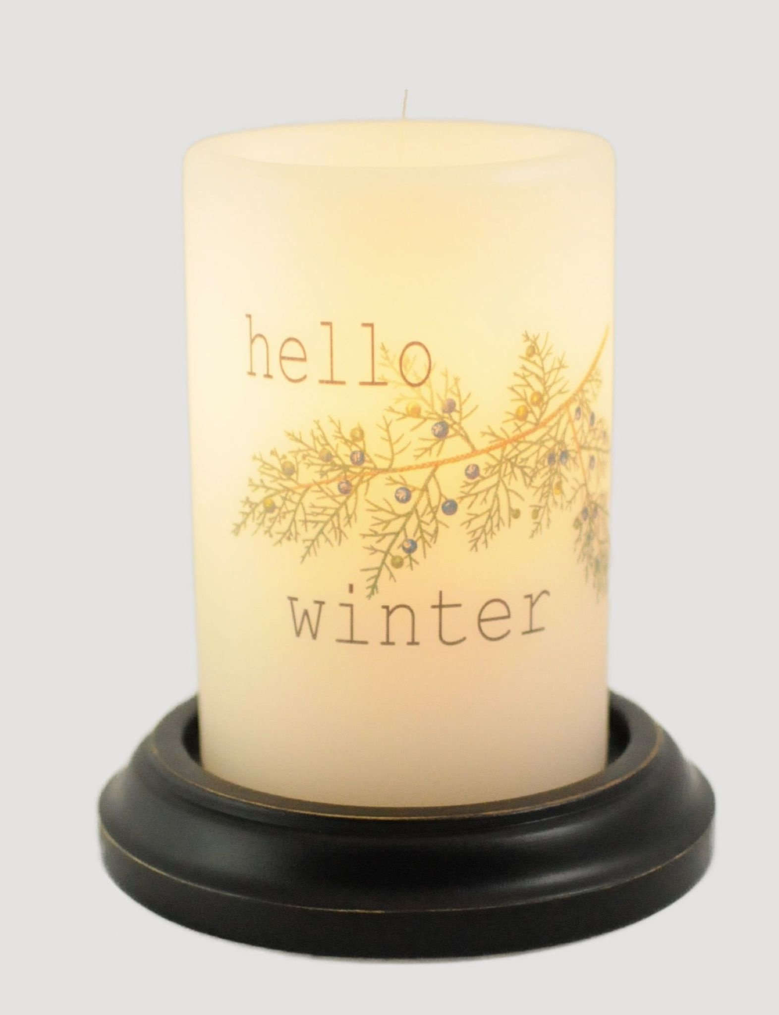 C R Designs Hello Winter Candle Sleeve