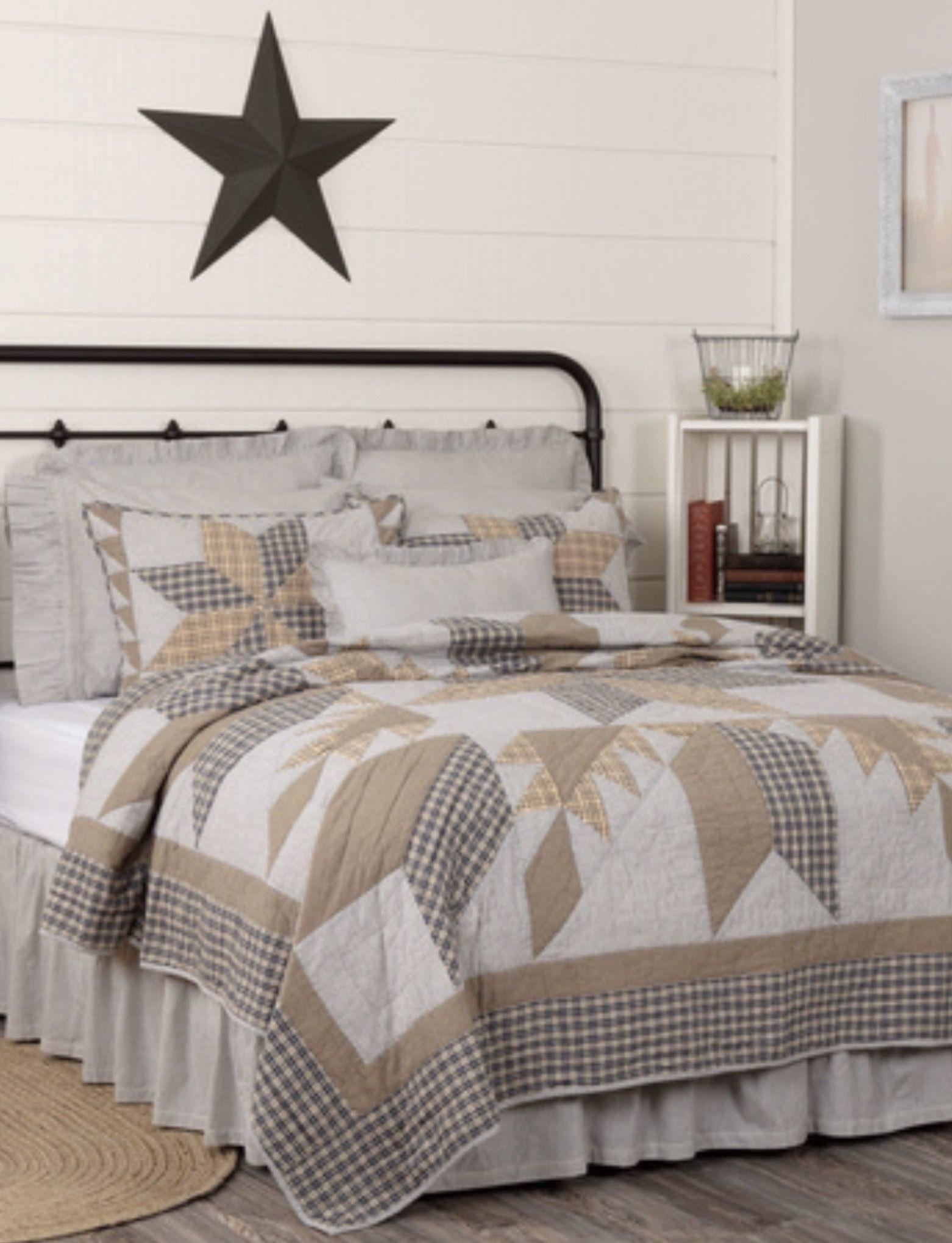 VHC Brands Dakota Star Farmhouse Blue Bedding Collection