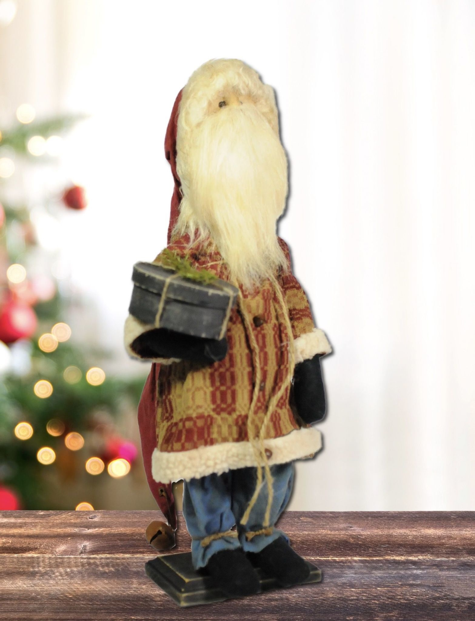 Nana's Farmhouse Santa Red Tapestry Suit Holding Pantry Box
