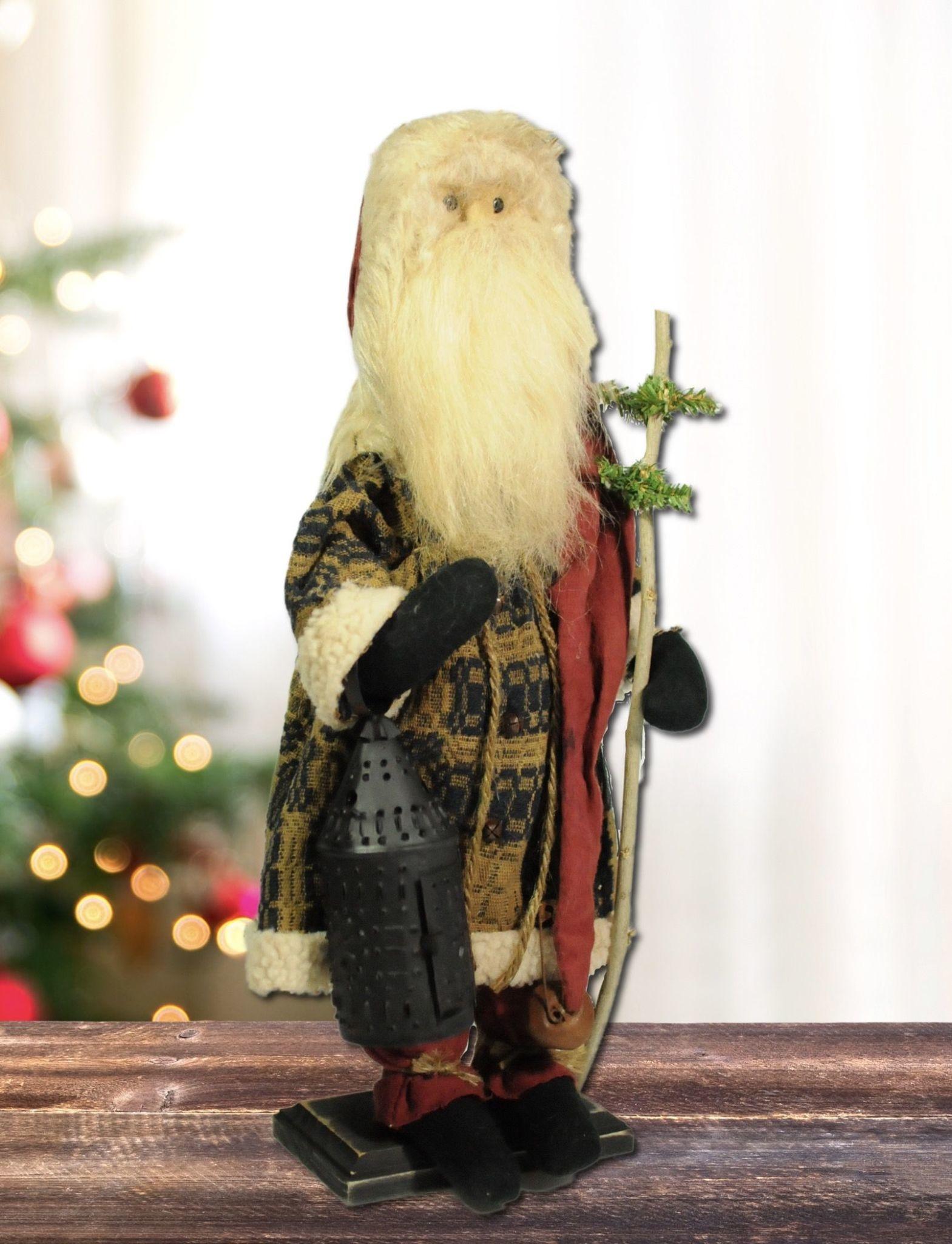 Nana's Farmhouse Santa Navy Tapestry Suit Holding Lantern