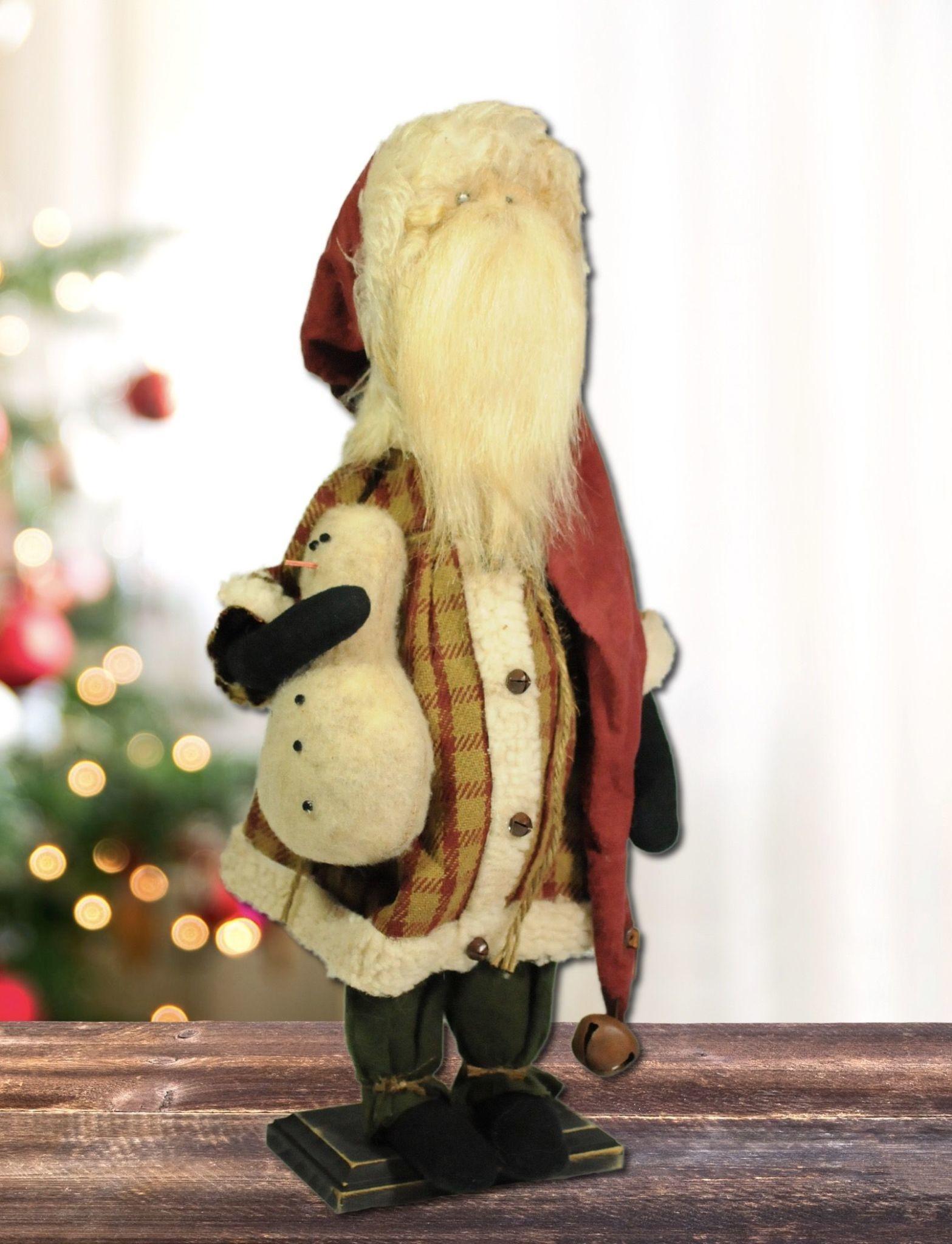 Nana's Farmhouse Santa Tan & Red Check Suit Holding Snowman