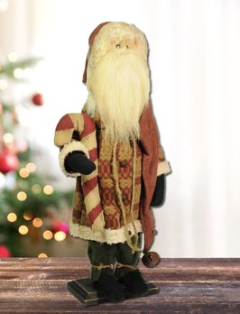 Nana's Farmhouse Santa Red Tapestry Suit Holding Candy Cane