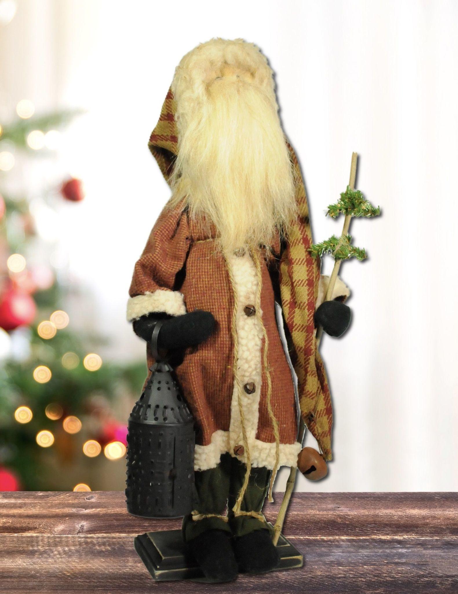 Nana's Farmhouse Santa Red Check Suit Holding Lantern