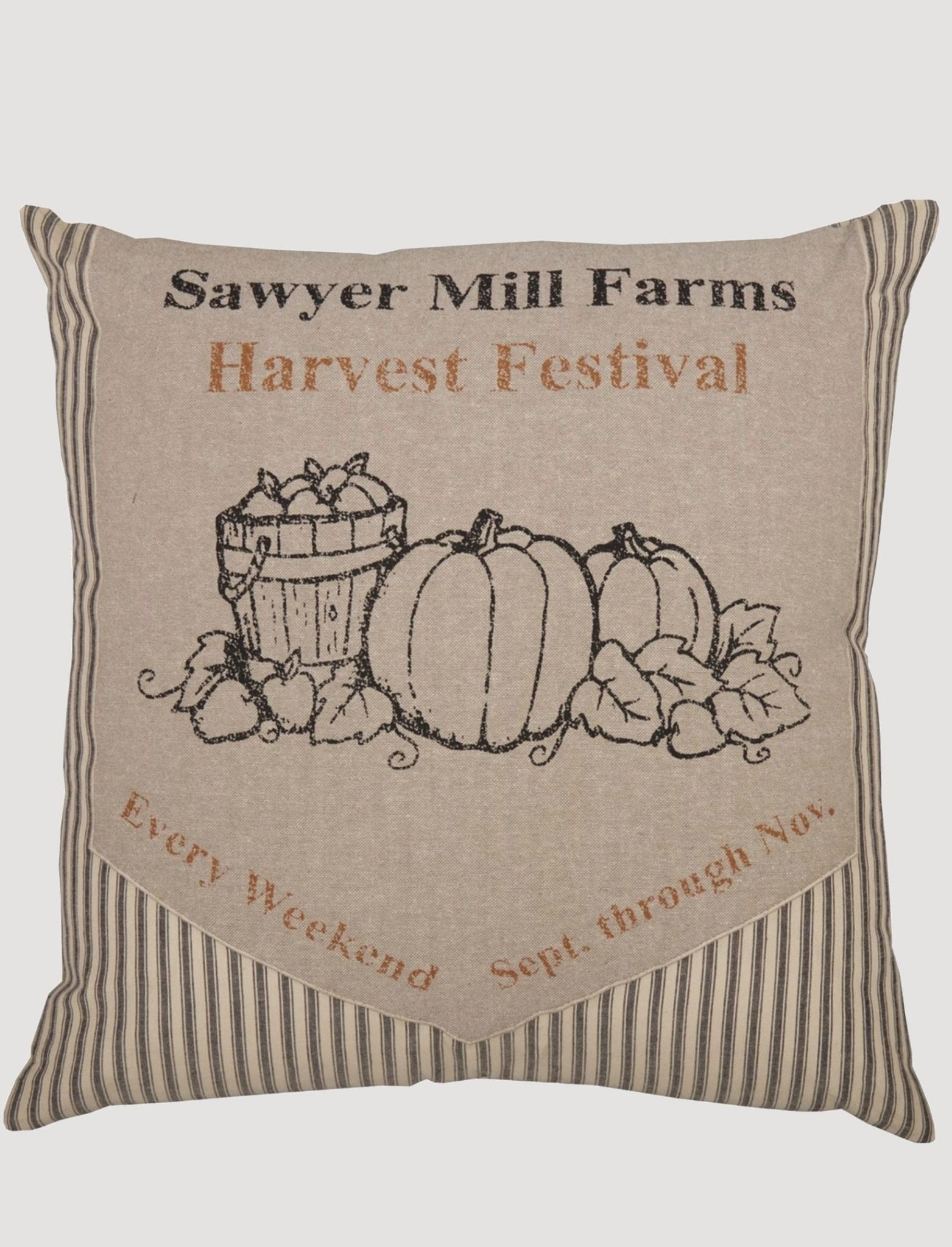 "VHC Brands Sawyer MIll Charcoal Harvest Festival Pillow 18""x18"""