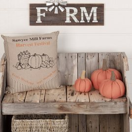 VHC Brands Sawyer MIll Charcoal Harvest Festival Pillow