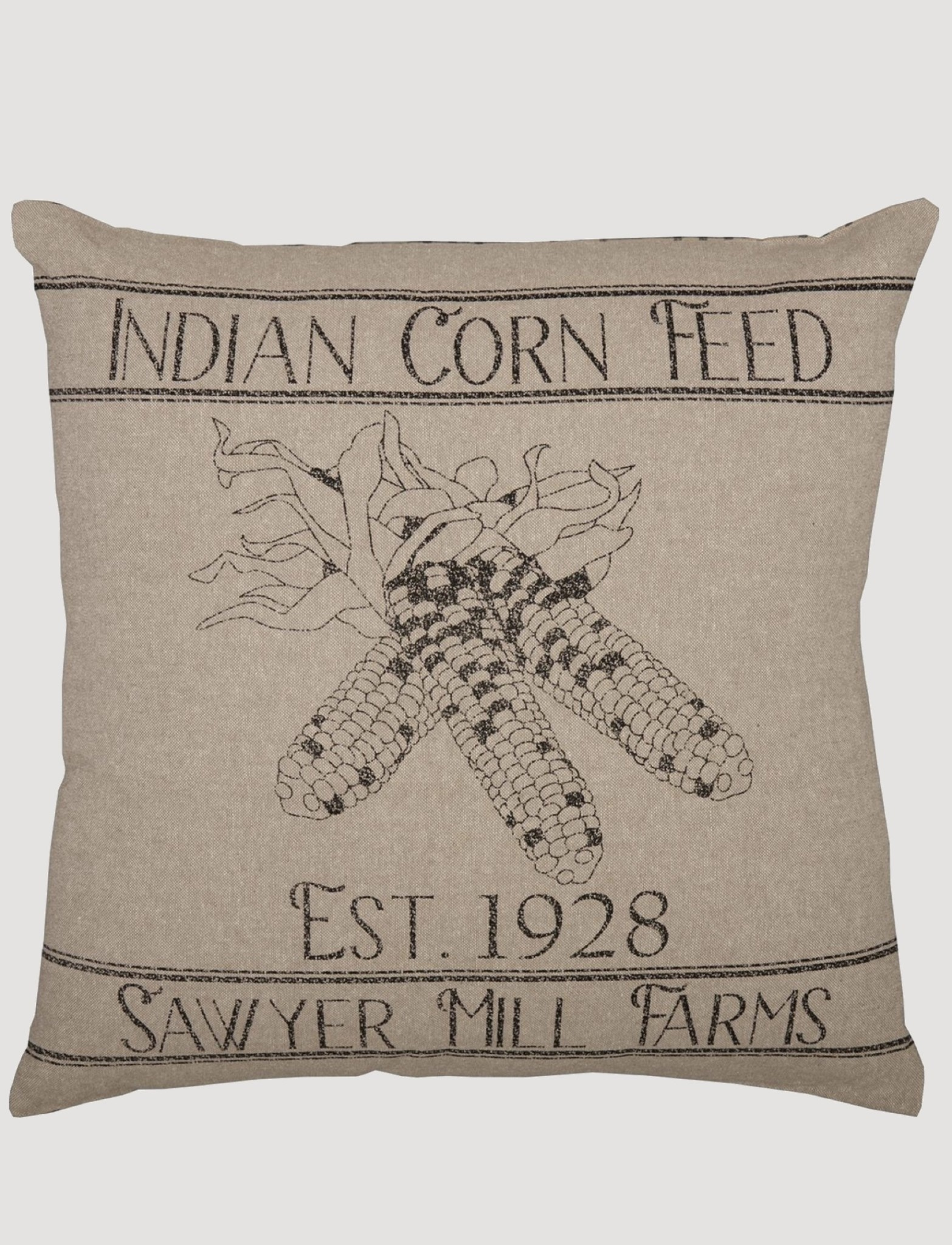 "VHC Brands Sawyer Mill Charcoal Corn Feed Pillow 18""x18"""