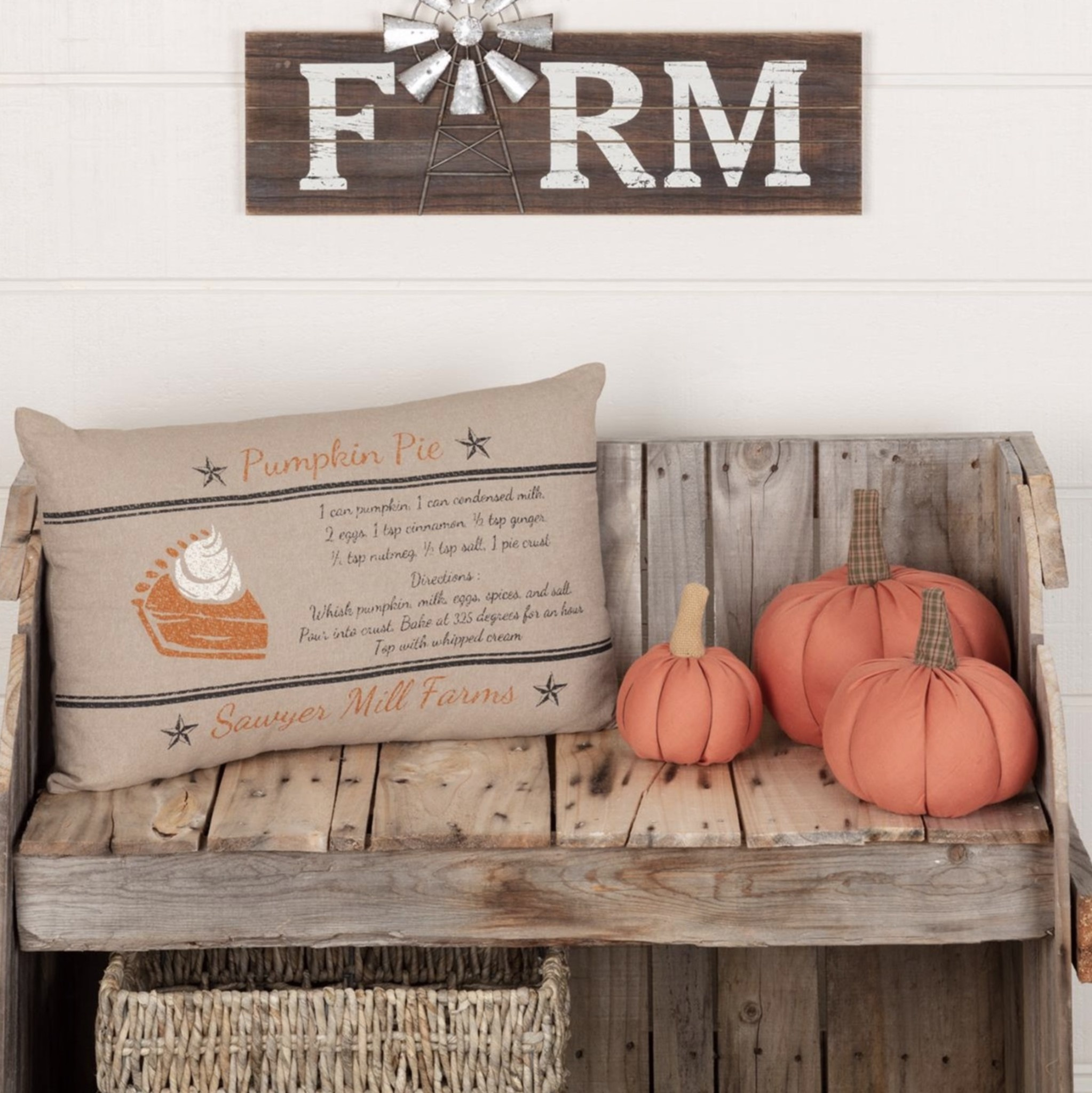"VHC Brands Sawyer Mill Charcoal Pumpkin Pie Recipe Pillow 14""x22"""
