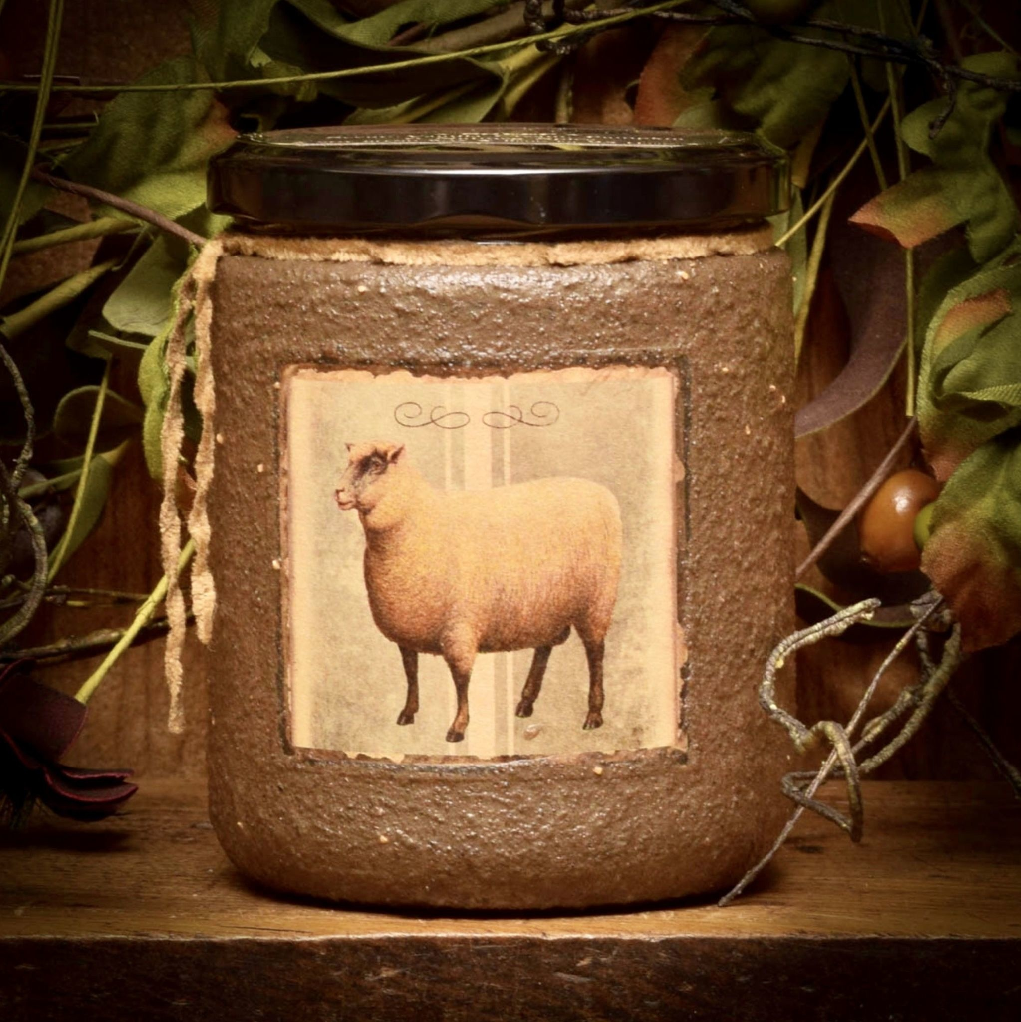 Herbal Star Candles Sheep Painted Soy Jar Candle 16oz