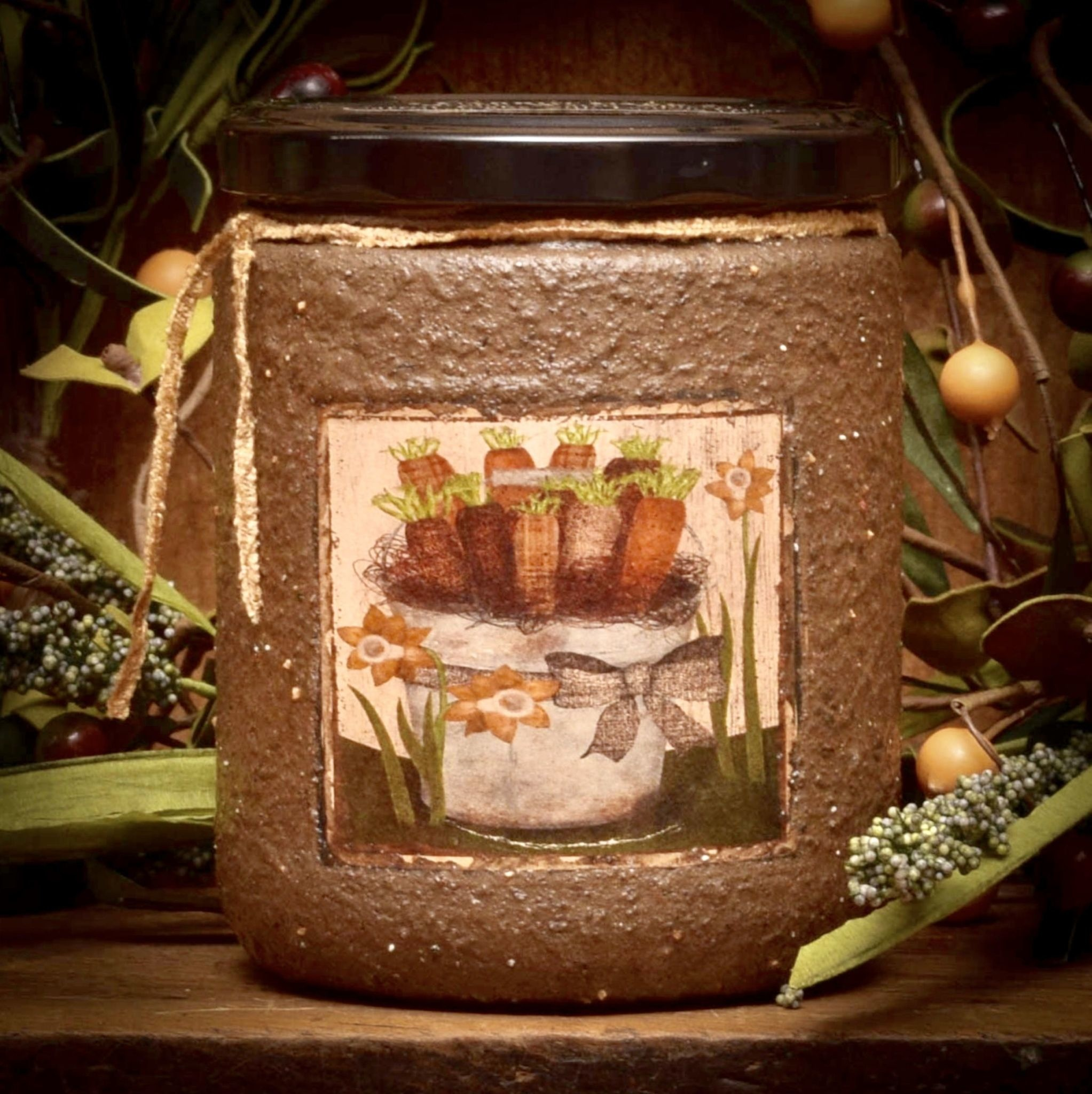 Herbal Star Candles Carrot Cake Painted Soy Jar Candle 16oz