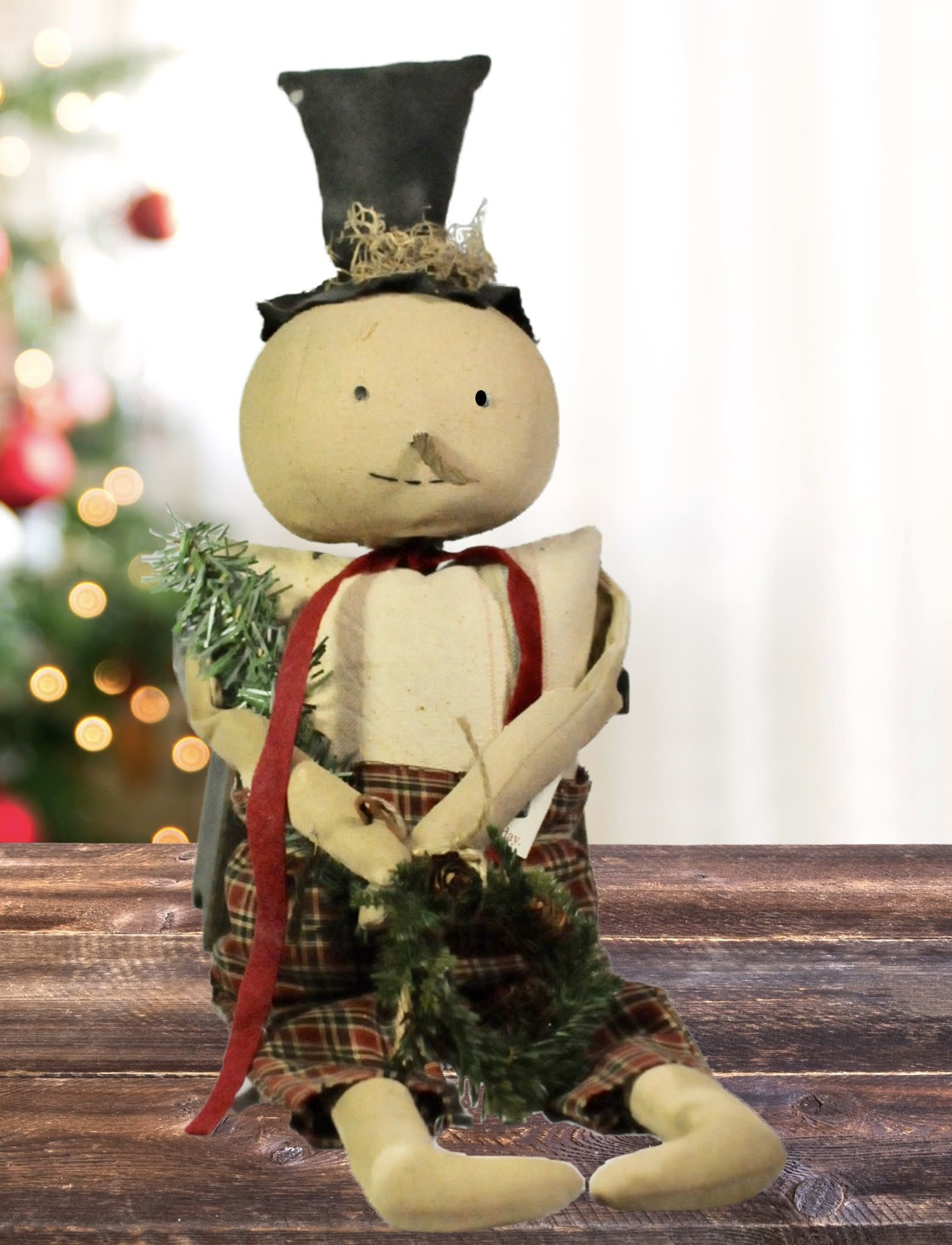 Dawns Attic Treasurers Sitting Snowman With Plaid Pants