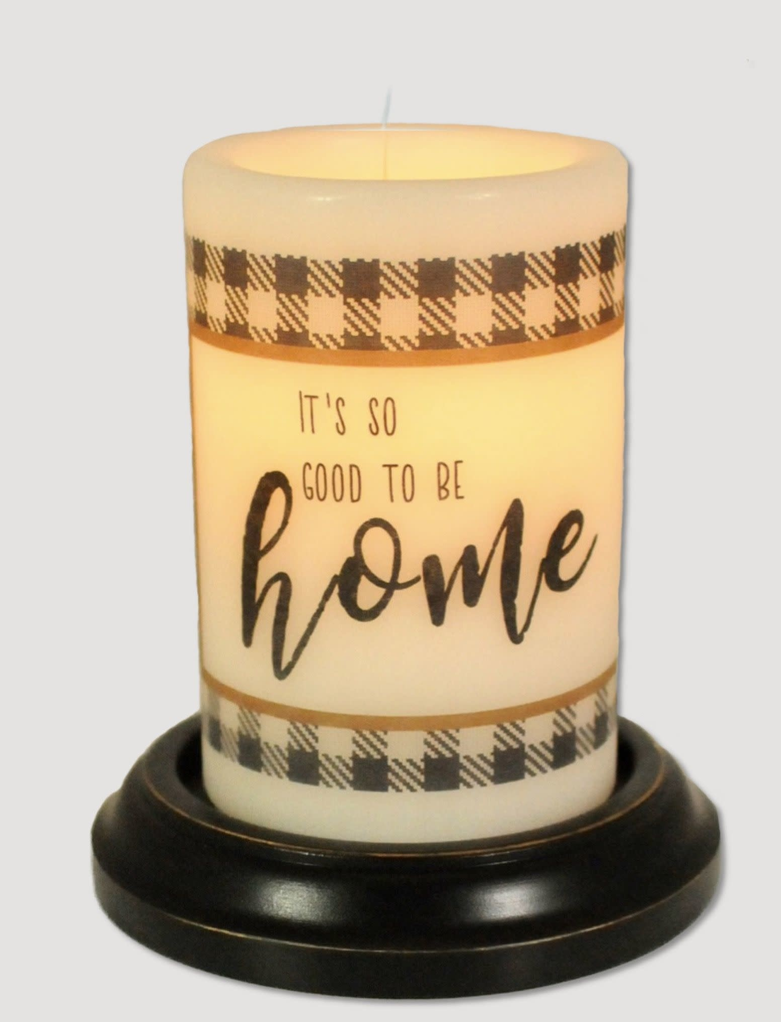 C R Designs Good Home Buffalo Check Candle Sleeve