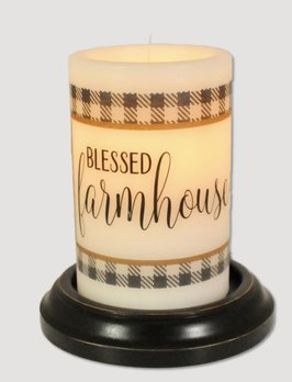 C R Designs Blessed Farmhouse Buffalo Check Candle Sleeve