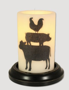 C R Designs Stacked Barnyard Friends Candle Sleeve