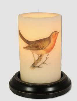 C R Designs Brown & Red Bird Candle Sleeve