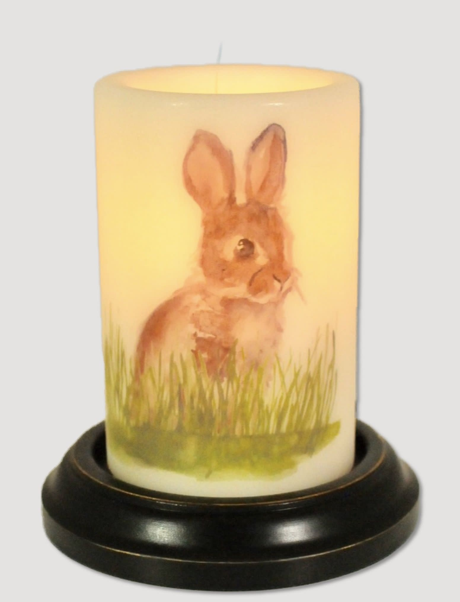 C R Designs Tall Rabbit In Grass Candle Sleeve