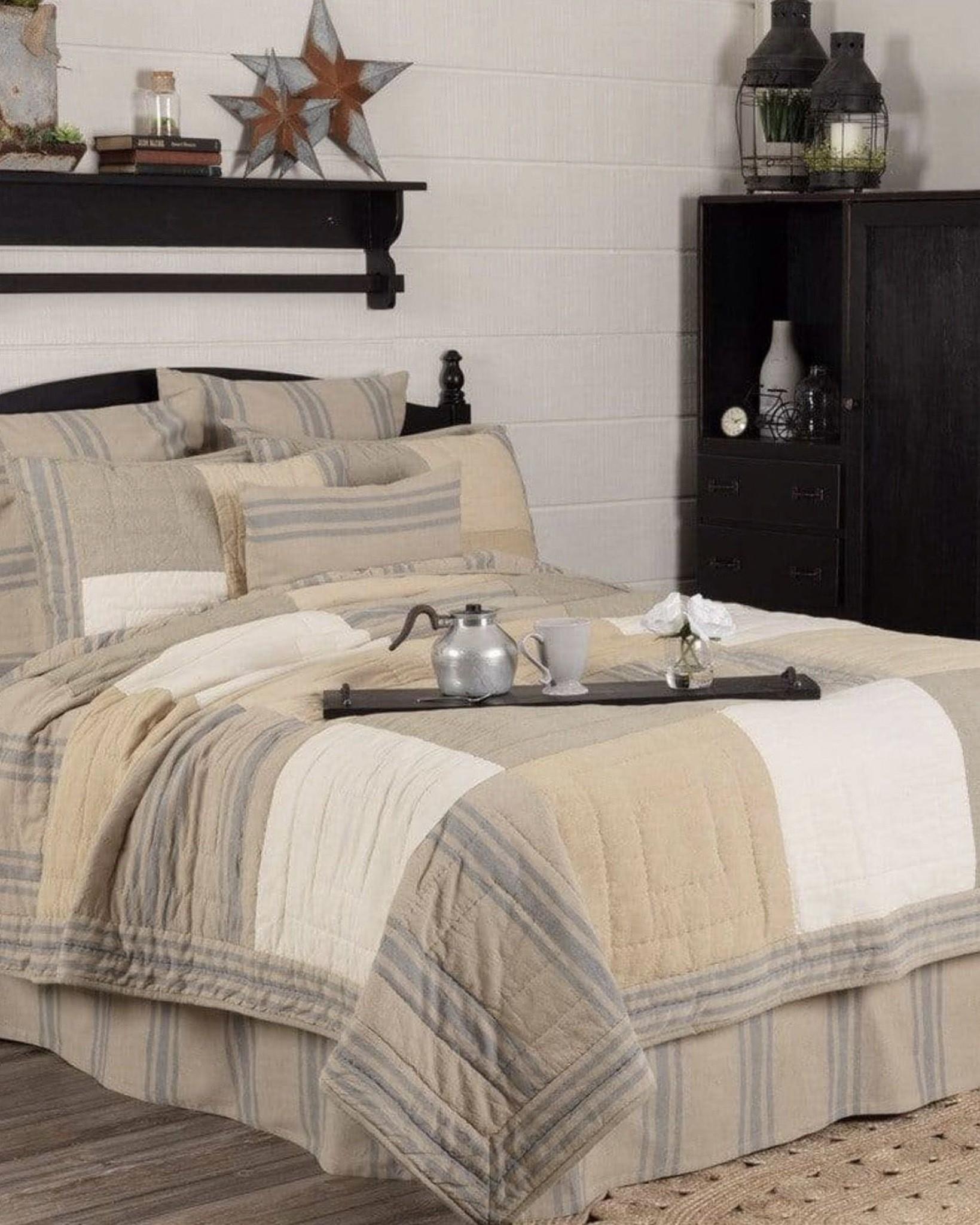 VHC Brands Farmer's Market Grain Sack Stripe Bedding Collection