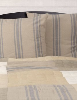 VHC Brands Farmer's Market Grain Sack Stripe Euro Sham Set of 2 26x26