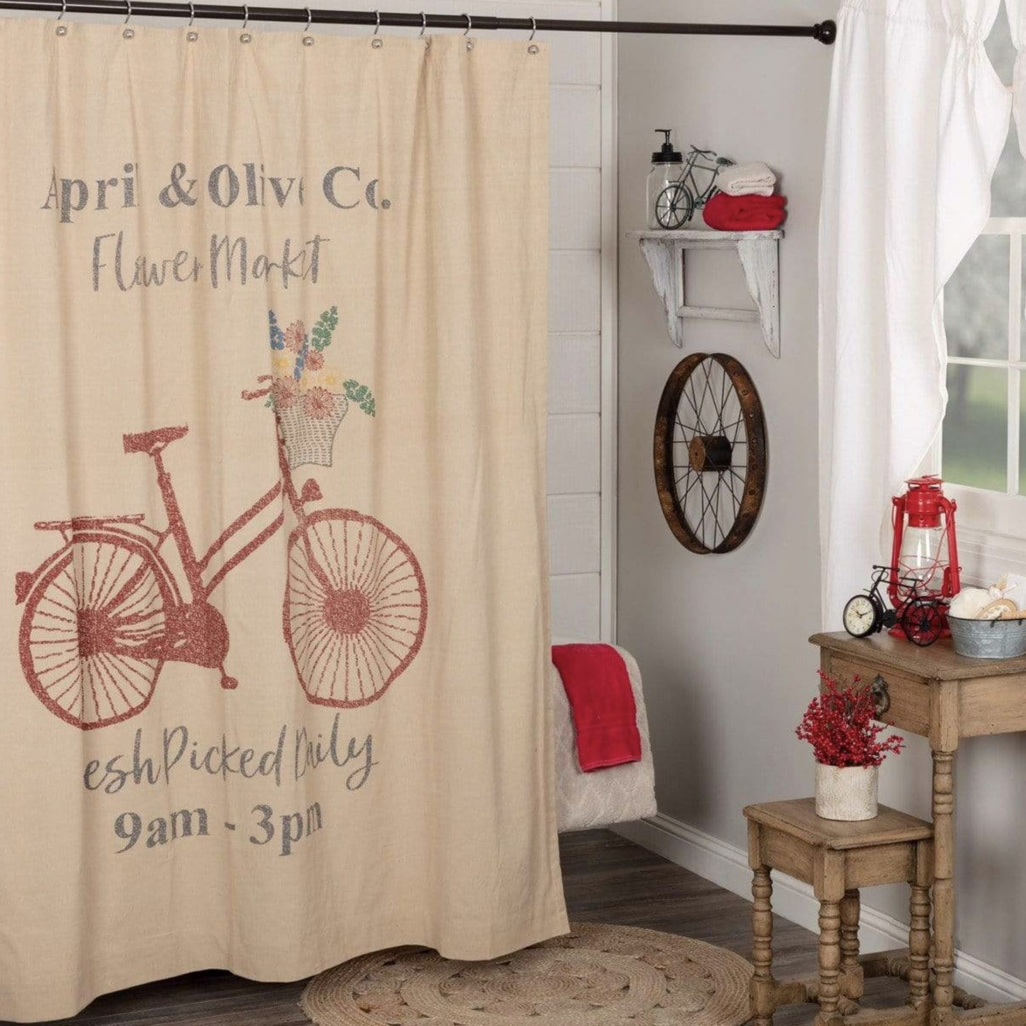 VHC Brands Farmer's Market Flower Market Shower Curtain - 72x72