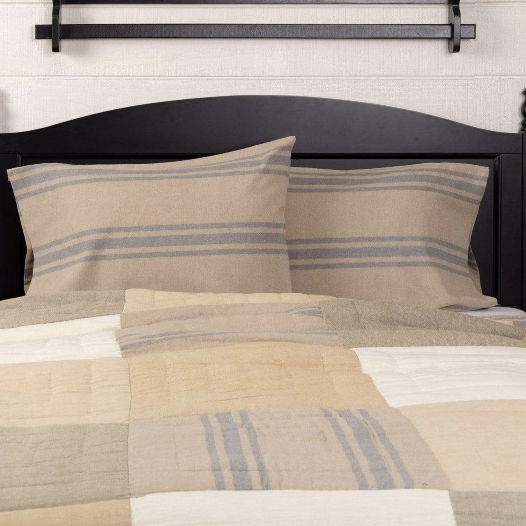 VHC Brands Farmers Market Grain Sack Stripe Pillow Case Set of 2