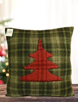 Nana's Farmhouse Christmas Tree Green Plaid Pillow