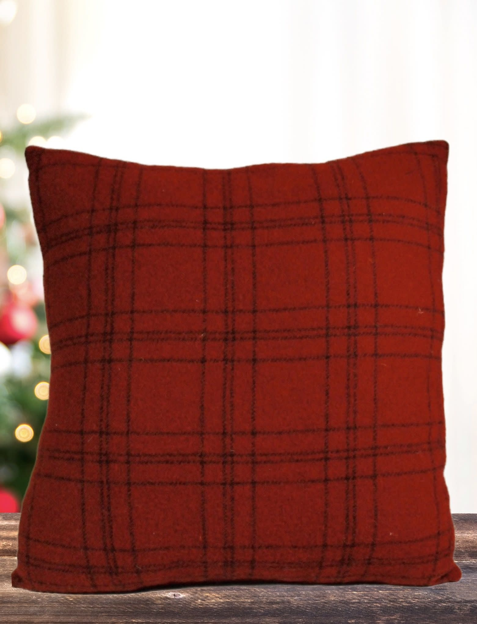 Nana's Farmhouse Christmas Tree Plaid Red Pillow