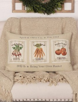 VHC Brands Farmer's Market Garden Veggie Pillow