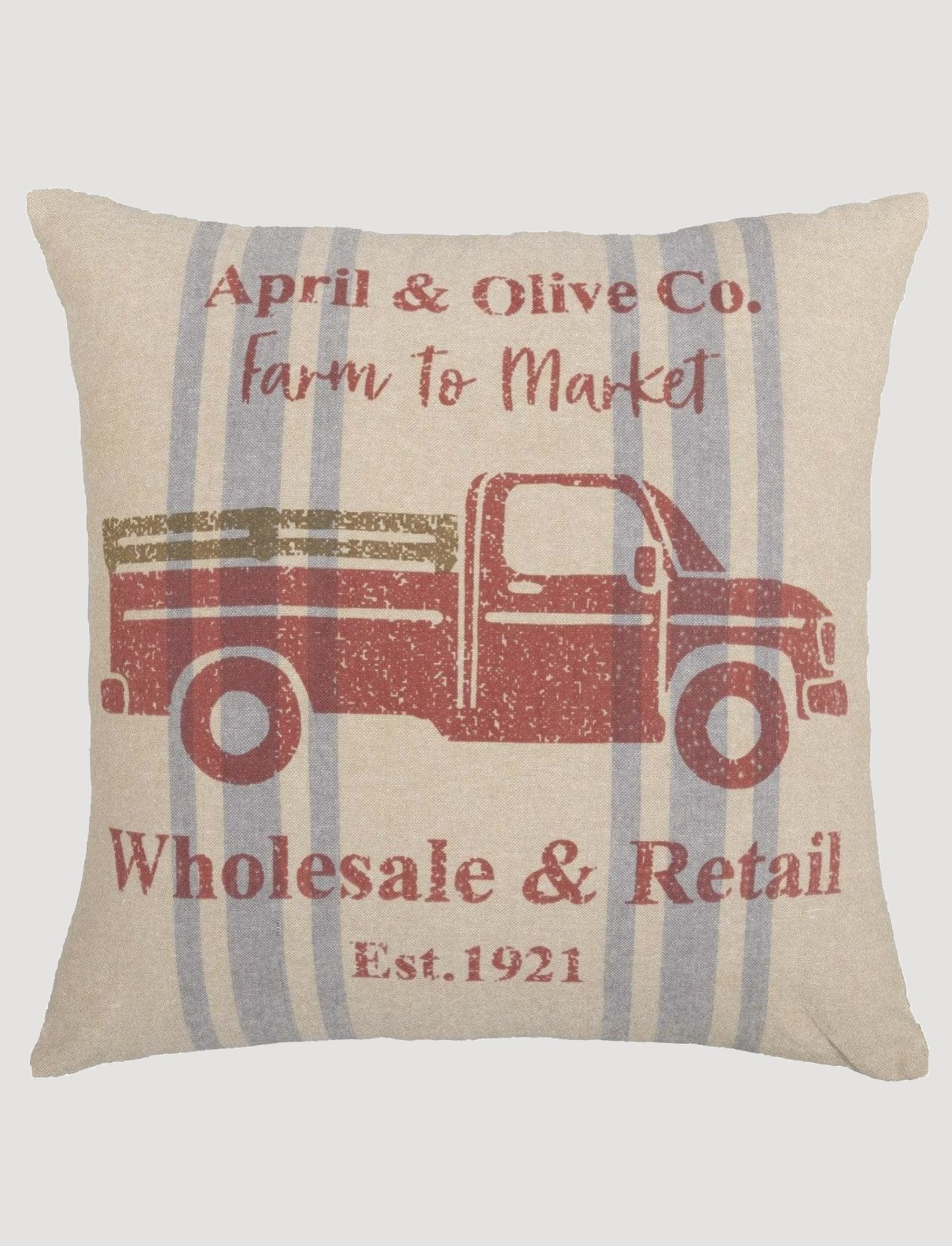 VHC Brands Farmer's Market Delivery Truck Pillow - 18x18