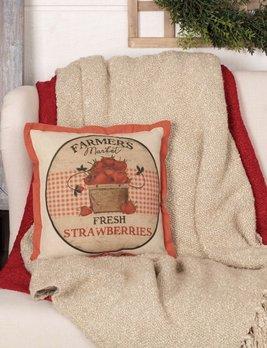 VHC Brands Farmer's Market Fresh Strawberries Pillow