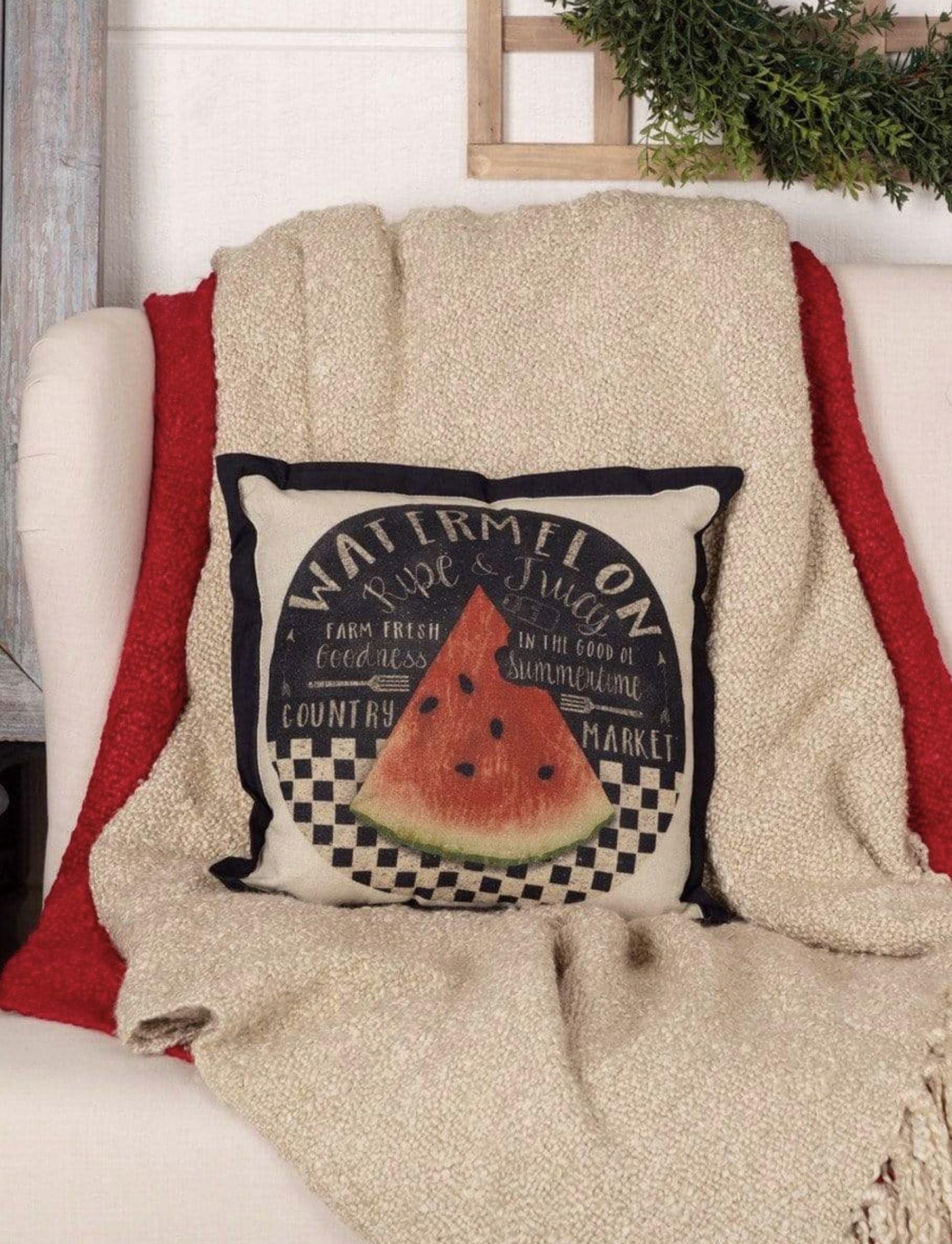 VHC Brands Farmer's Market Fresh Watermelon Pillow - 12x12