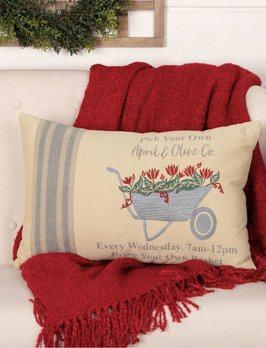 VHC Brands Farmer's Market Wheelbarrow Pillow
