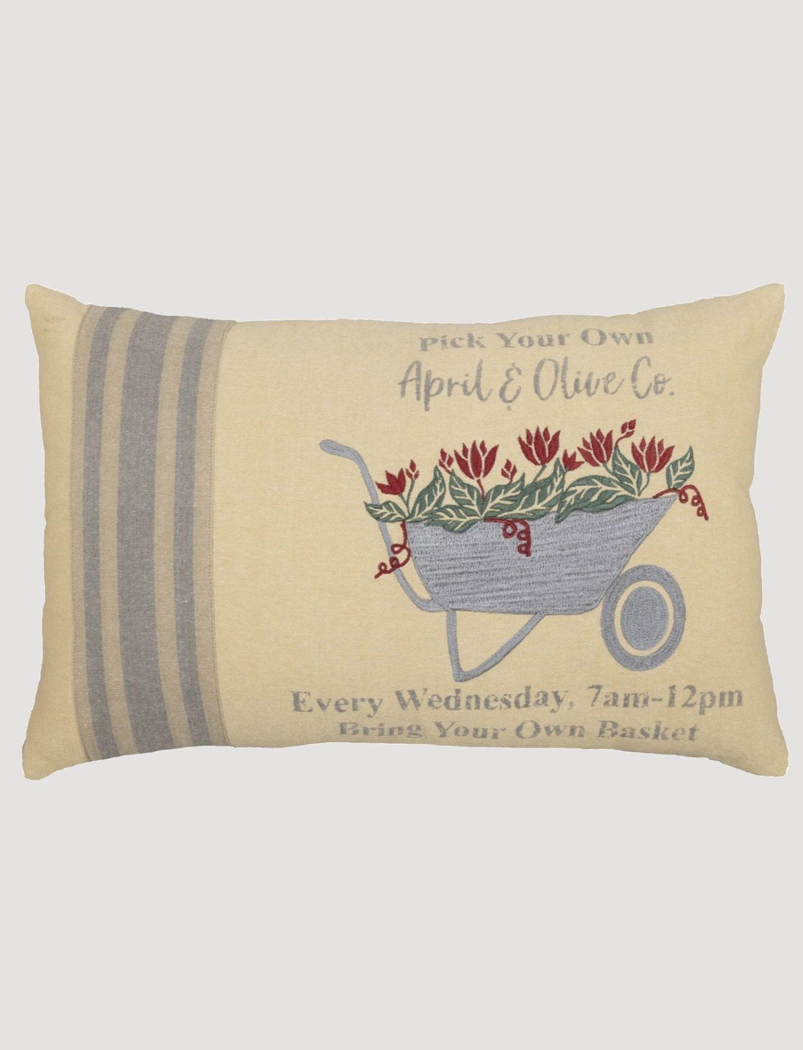 VHC Brands Farmer's Market Wheelbarrow Pillow - 14x22