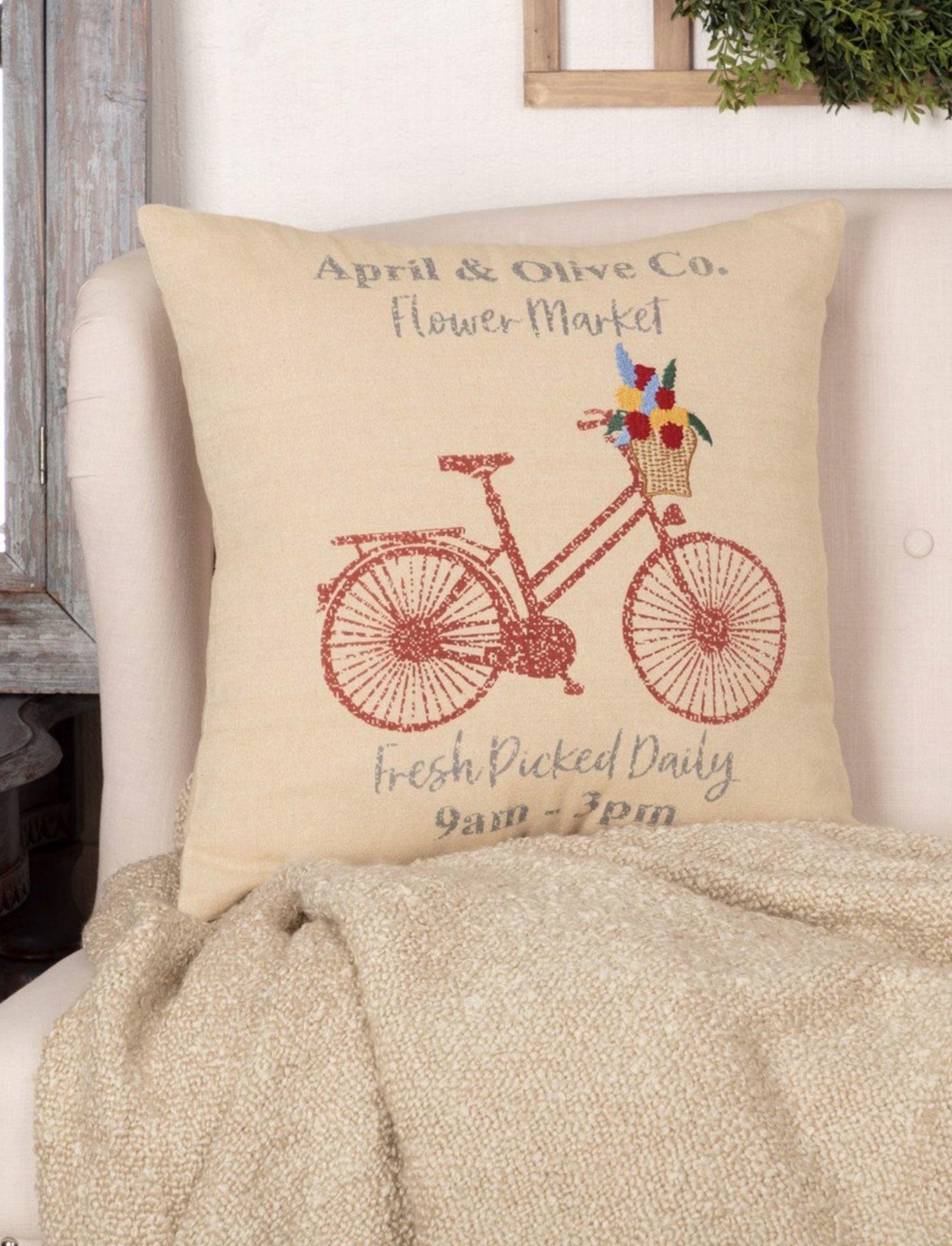VHC Brands Farmer's Market Flower Market Pillow 18x18