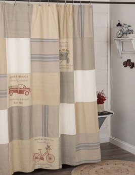 VHC Brands Farmer's Market Stenciled Patchwork Shower Curtain