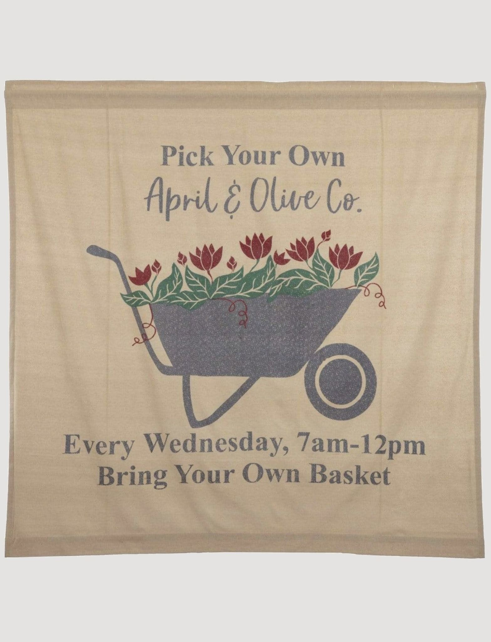 "VHC Brands Farmer's Market Wheelbarrow Shower Curtain - 72"" X 72"""