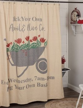 VHC Brands Farmer's Market Wheelbarrow Shower Curtain 72x72