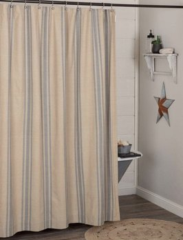 VHC Brands Farmer's Market Grain Sack Stripe Shower Curtain