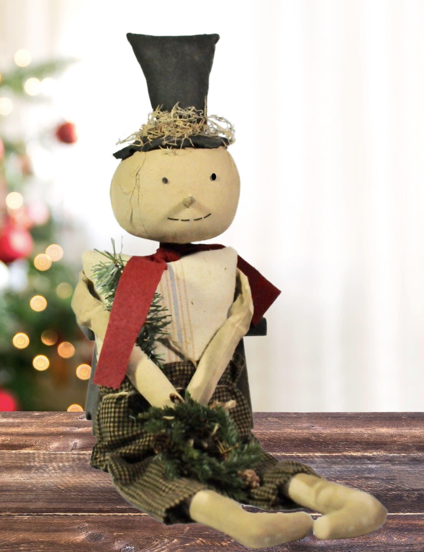 Dawns Attic Treasurers Sitting Snowman Black Check Pants Top Hat Holding Wreath