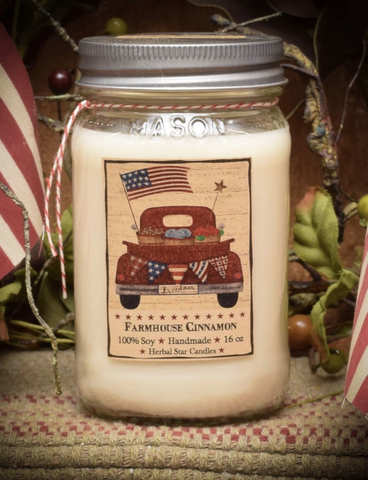 Herbal Star Candles Farmhouse Cinnamon Soy Jar Candle 16oz