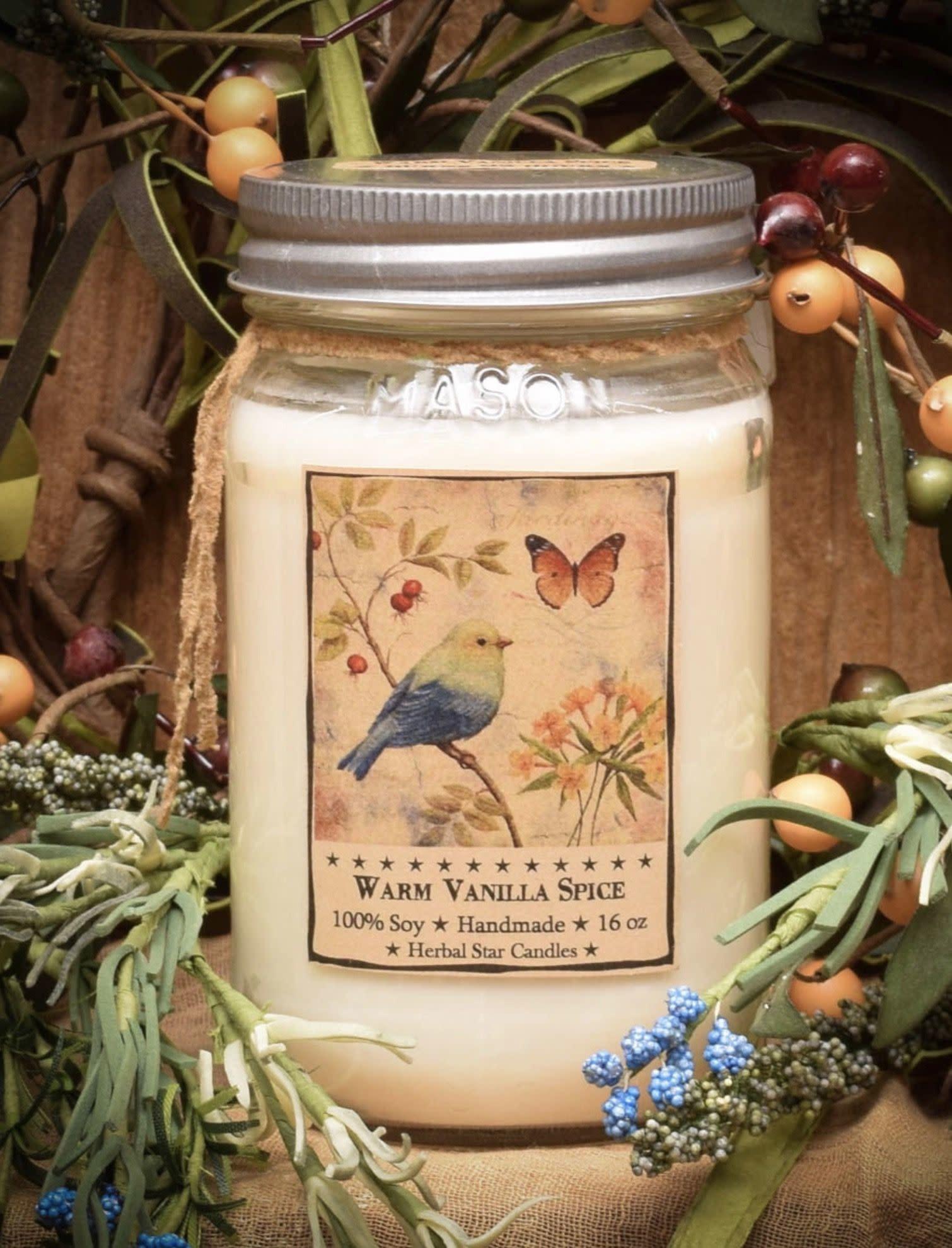 Herbal Star Candles Warm Vanilla Spice Soy Jar Candle 16oz
