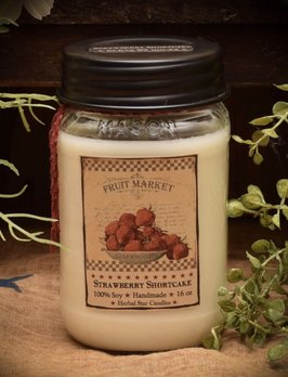 Herbal Star Candles Strawberry Short Cake Soy Jar Candle