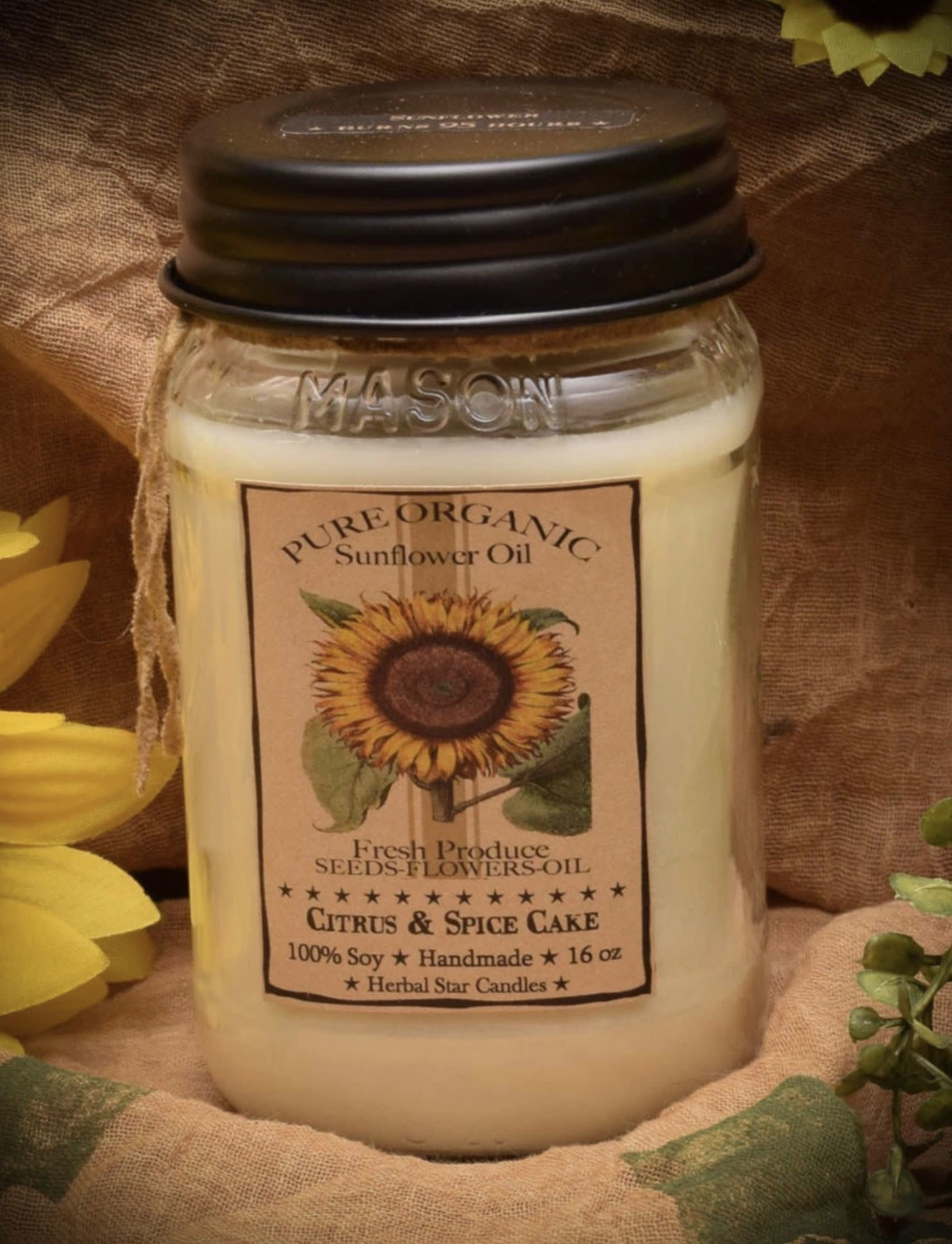 Herbal Star Candles Sunflower, Citrus & Spice Cake 16oz Soy Jar Candle