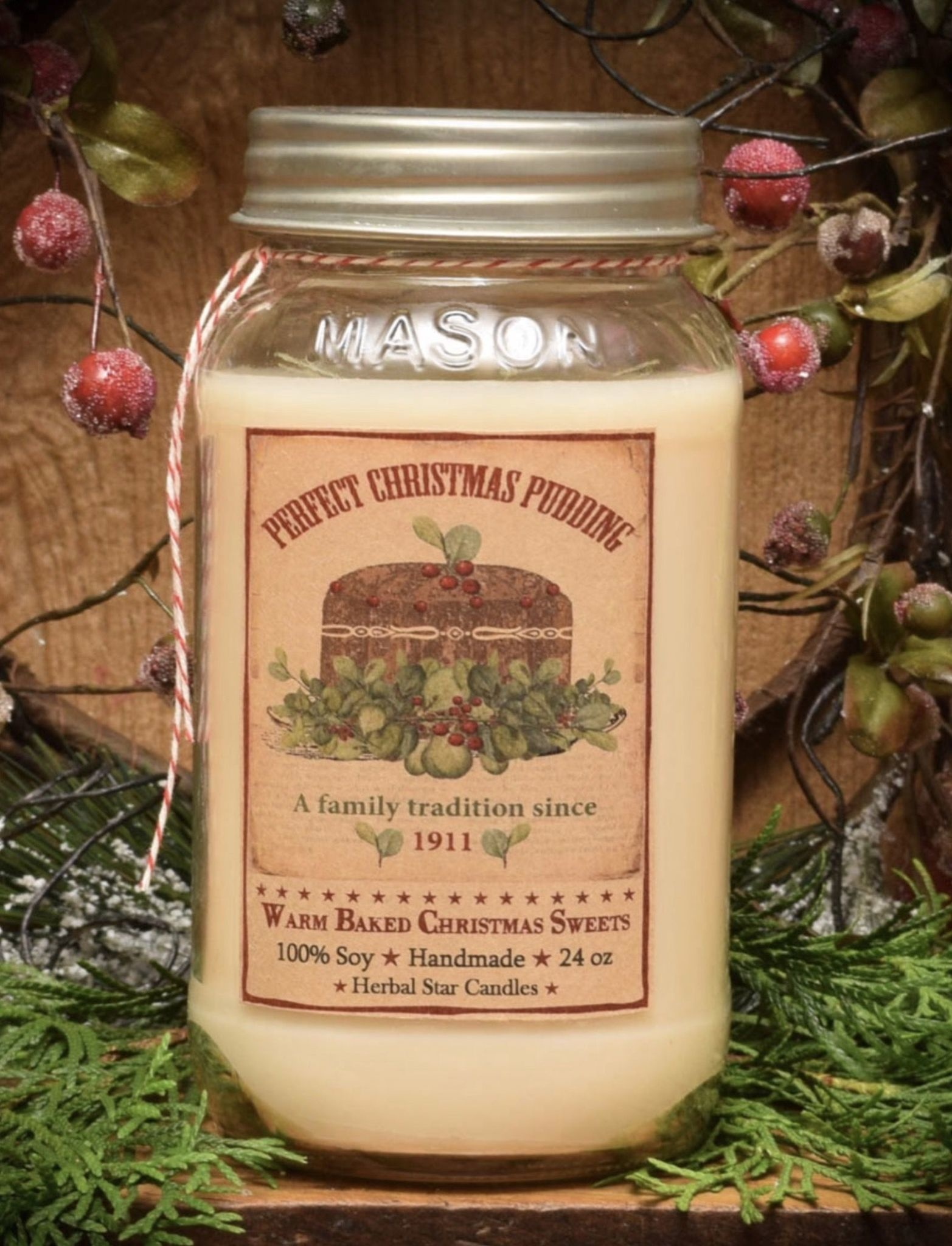 Herbal Star Candles Christmas Sweets Soy Jar Candle 24oz