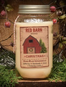 Herbal Star Candles Home-made Gingerbread Red Barn Jar Candle